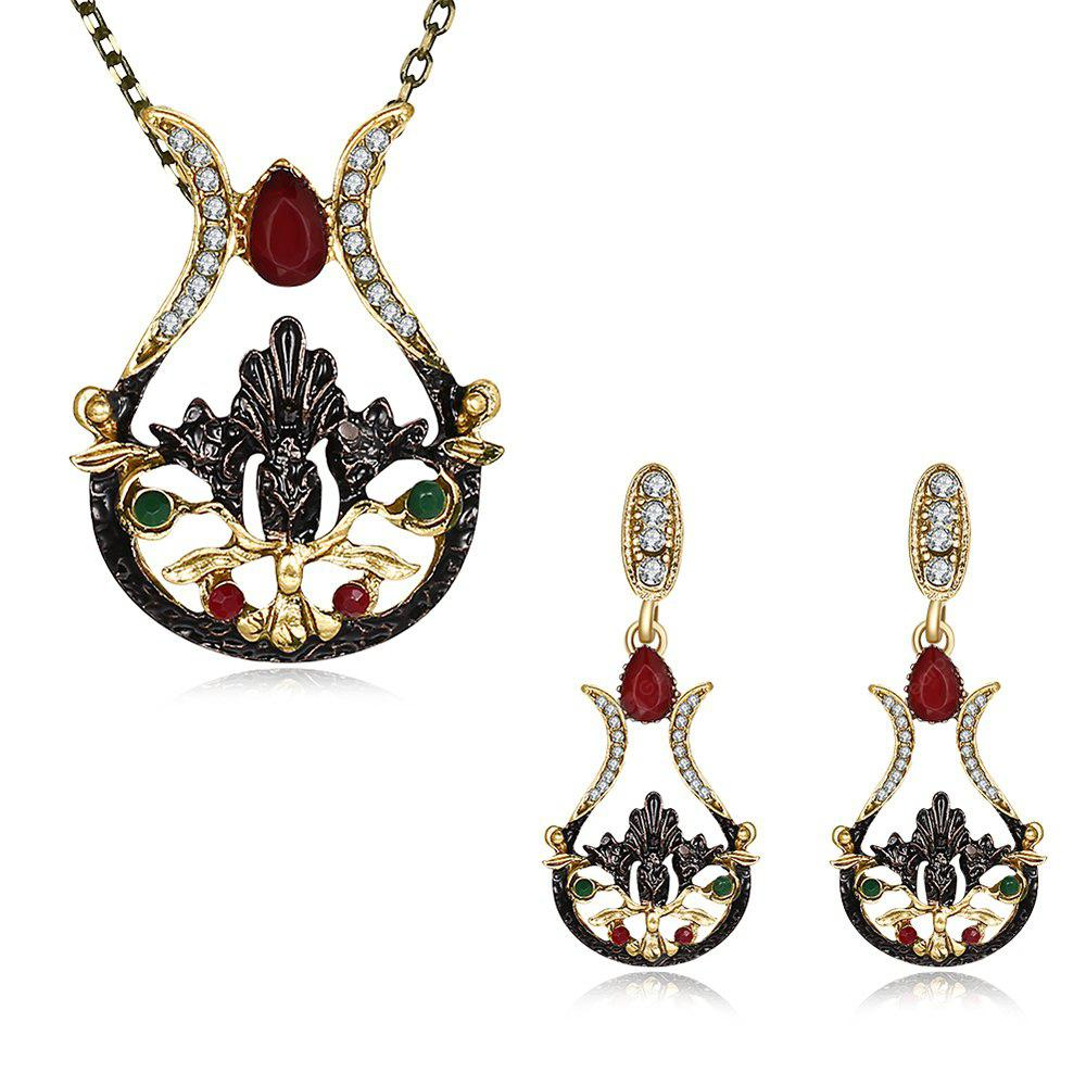 Bohemia Embellished Drop Earrings and Pendant Necklace Set
