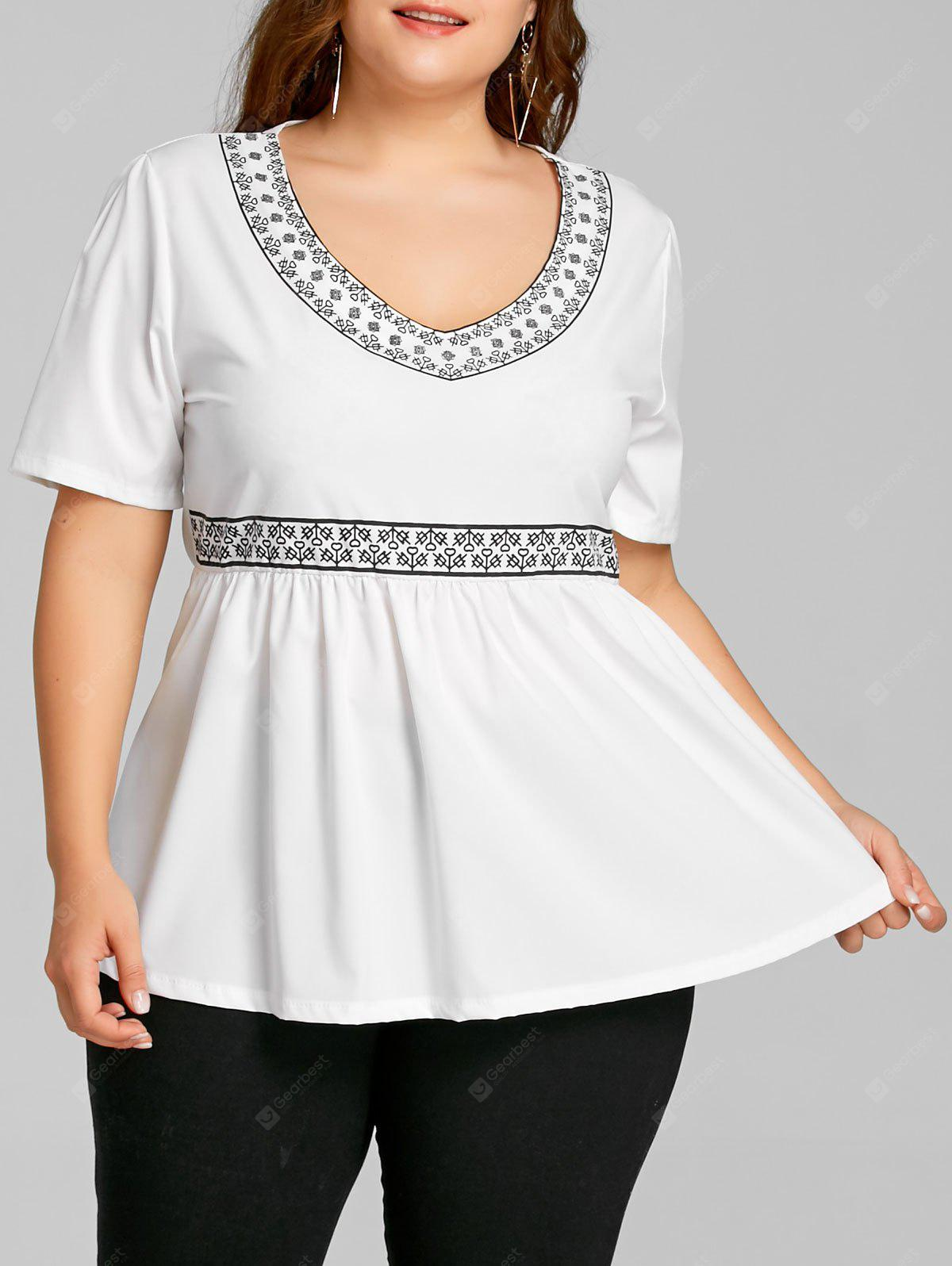 Plus Size Printed Peplum Top