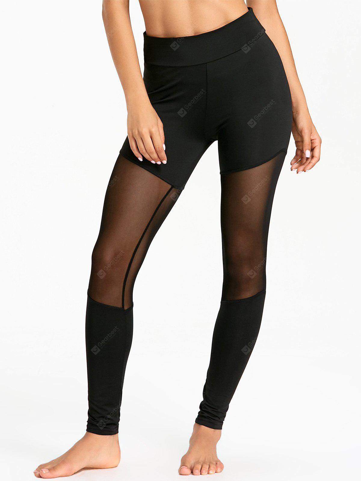 Sheer Mesh Panel Sports Tights