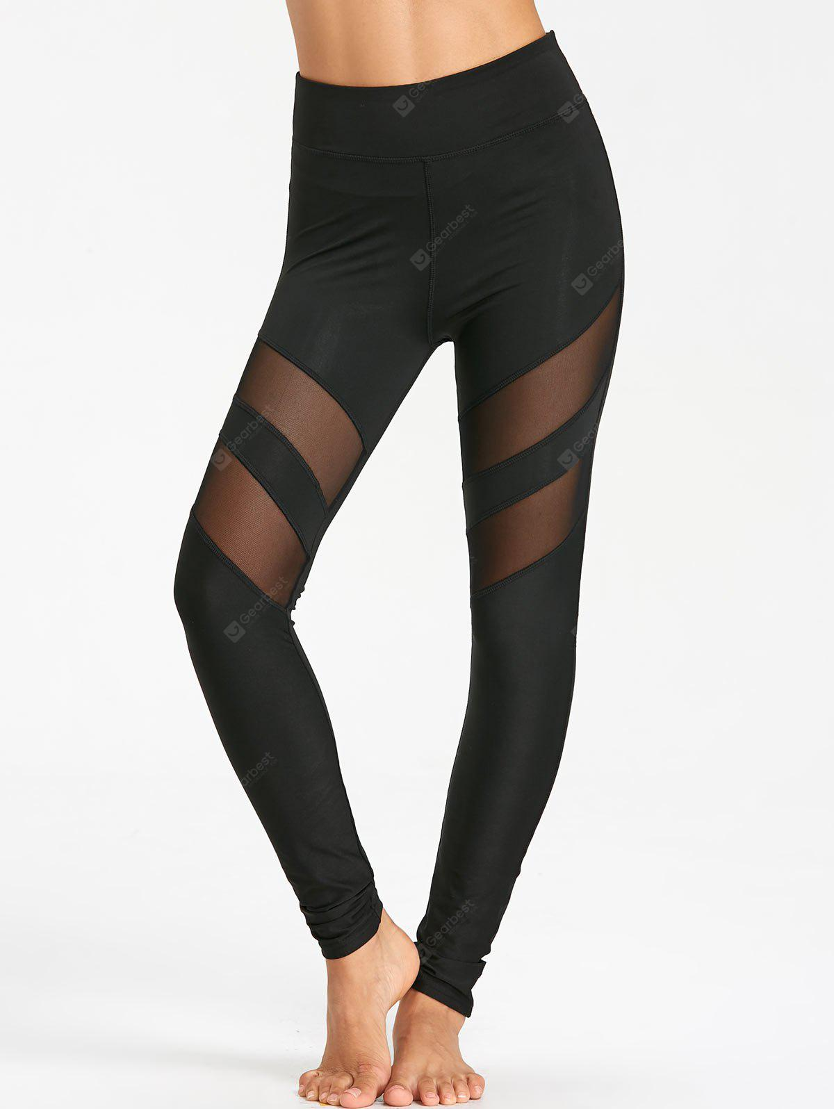 High Waist Workout Leggings With Mesh