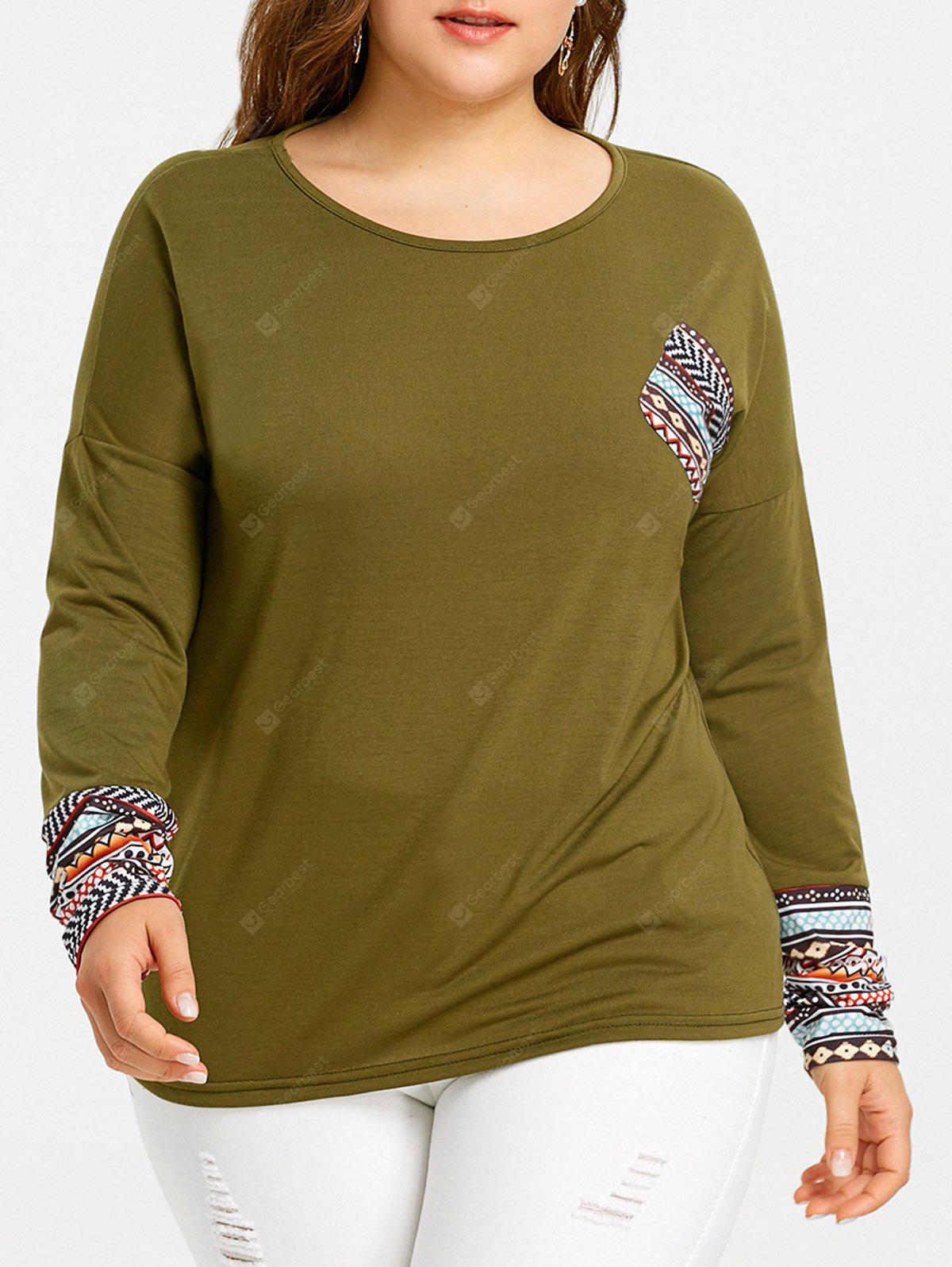 Plus Size Ethnic Pocket Drop Shoulder T-shirt