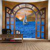 Window Scenery Sailboat at Sea Print Wall Art Tapestry - COLORMIX