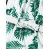 Leaves Print Off Shoulder Choker Belted Dress - GREEN