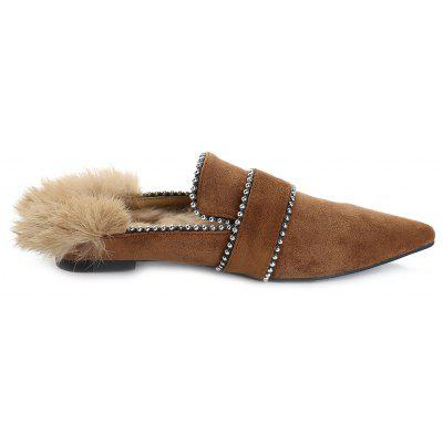 Pointed Toe Faux Fur Outdoor Slippers