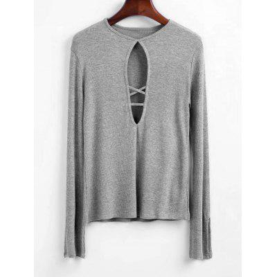 Criss Cross Cut Out Knitted Top