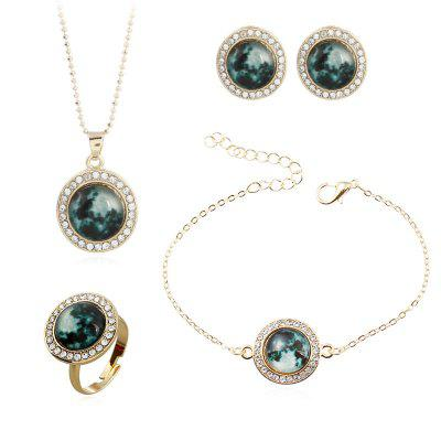 Retro Rhinestone Round Jewelry Set