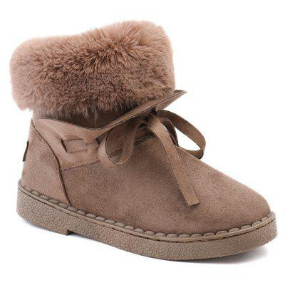 Bowknot Low Heel Snow Boots