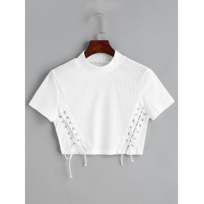 Buy WHITE XL Lace Up Cropped Knitted Top for $24.08 in GearBest store