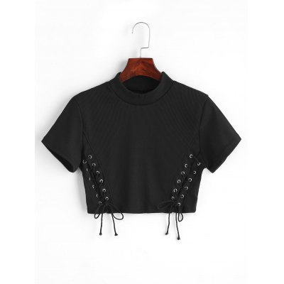 Buy BLACK XL Lace Up Cropped Knitted Top for $24.08 in GearBest store