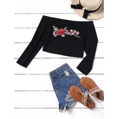 Off Shoulder Embroidered Patches Cropped Top