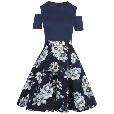 Cold Shoulder Floral Print Vintage Dress