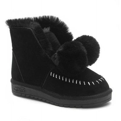 Whipstitch Pompoms Low Heel Snow Boots