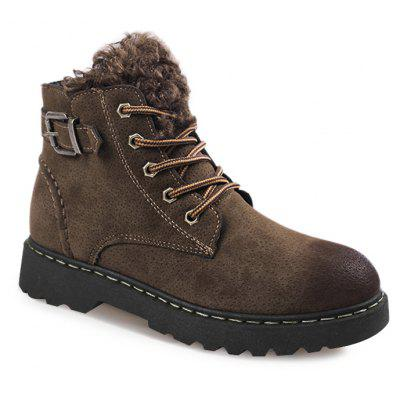 Buckle Strap Whipstitch Lace Up Boots