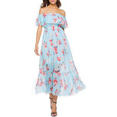 Short Sleeve Floral Print Chiffon Dress