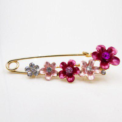 Flower Faux Crystal Decorated Brooch