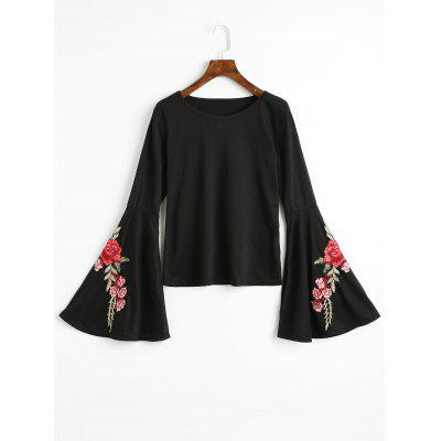 Flower Patched Flare Sleeve Tee
