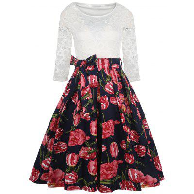 Vintage Lace Panel Flower Print Dress
