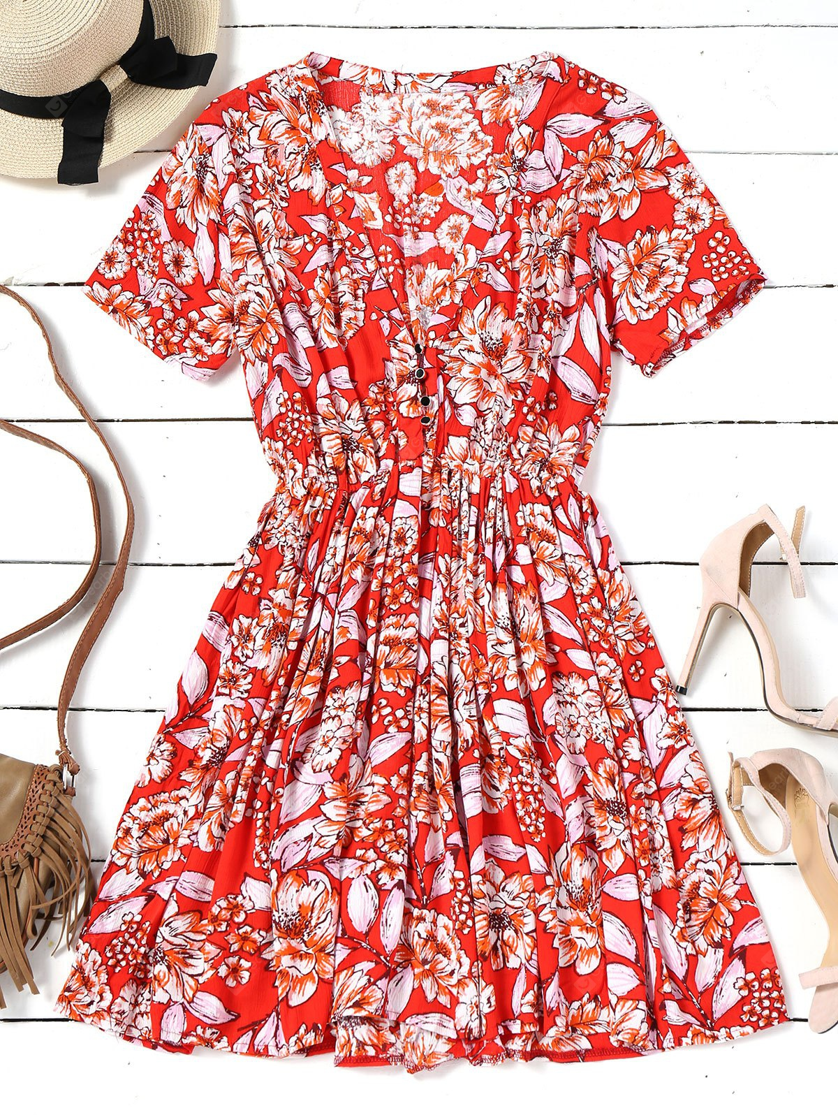 Floral Half Buttoned Short Sleeve Mini Dress