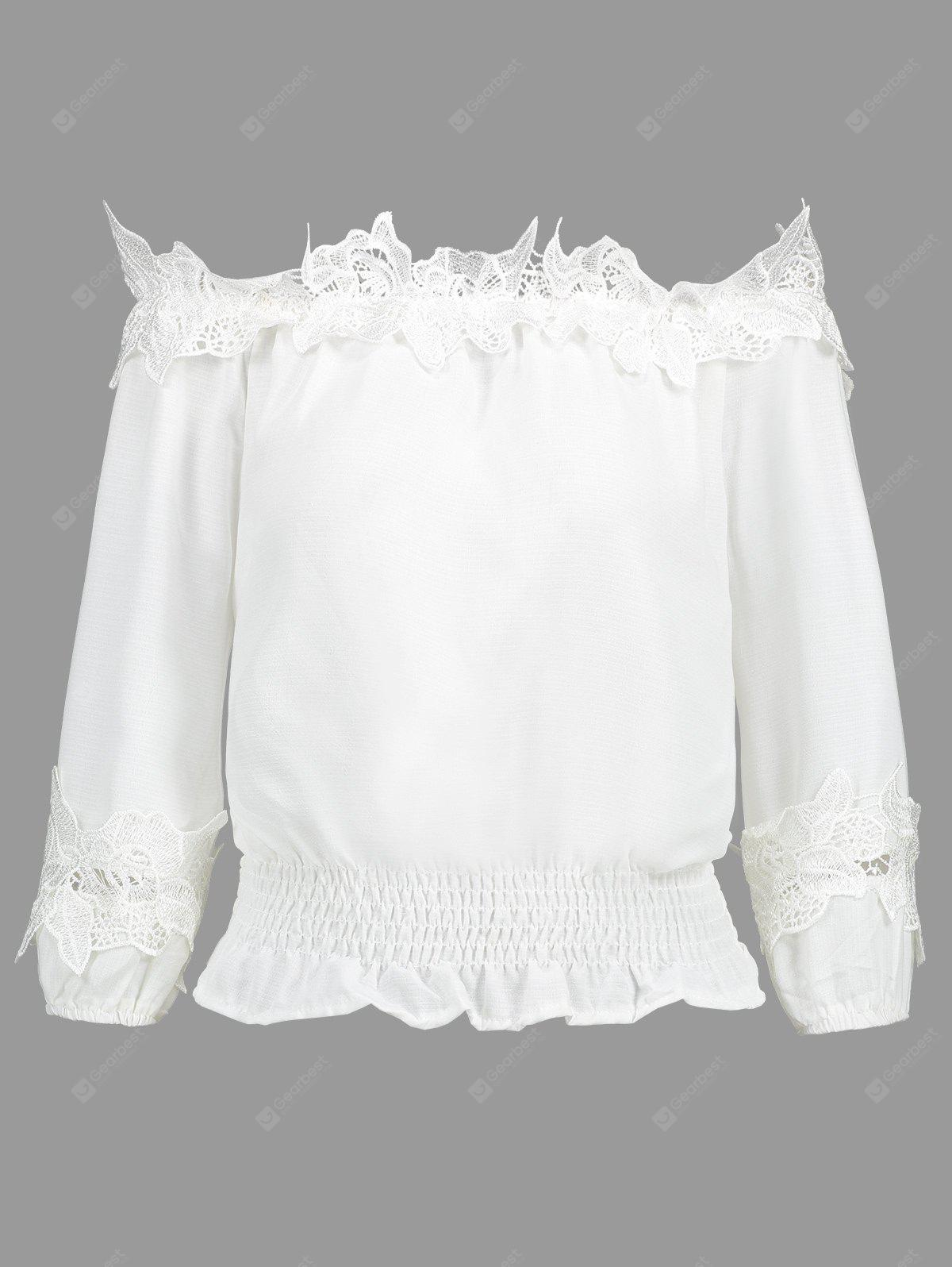 Smocked Off Shoulder Lace Panel Blouse