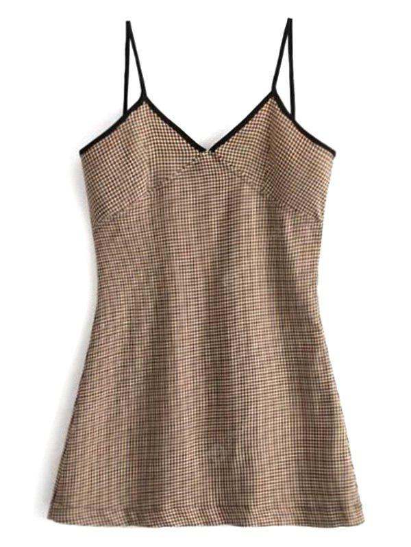 Houndstooth Contrast Trim Mini Dress