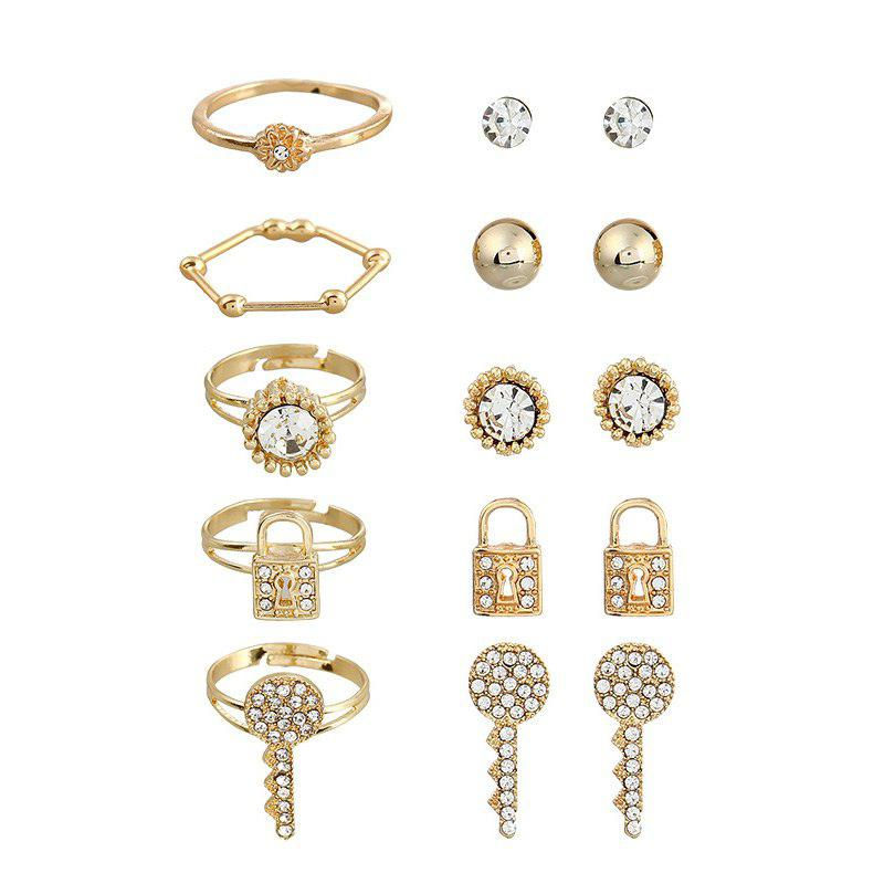 Rhinestone Lock Floral Earrings and Rings