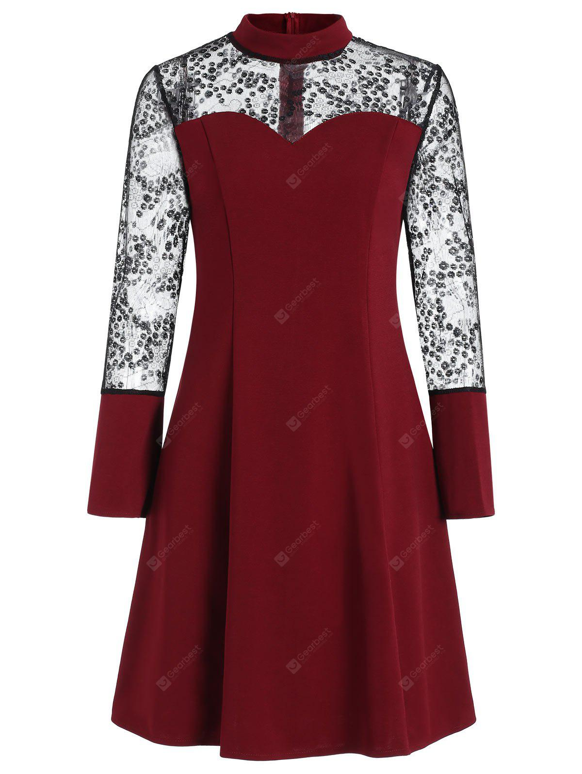 Lace Panel Bell Sleeve High Neck Dress
