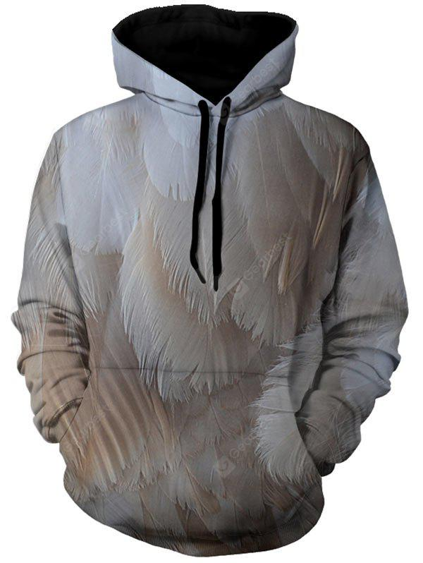 Kangaroo Pocket Pullover 3D Feather Hoodie
