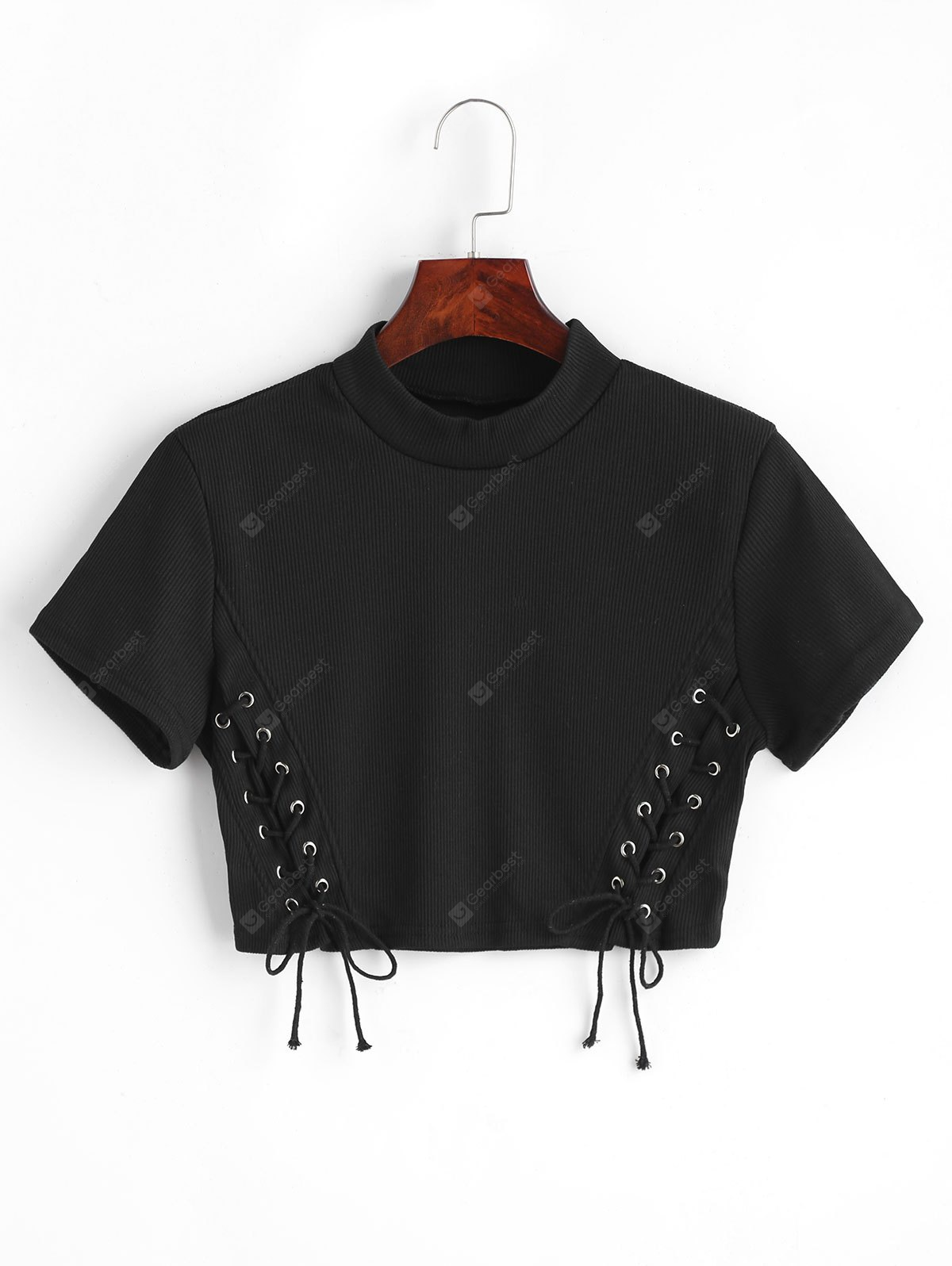 BLACK M Lace Up Cropped Knitted Top