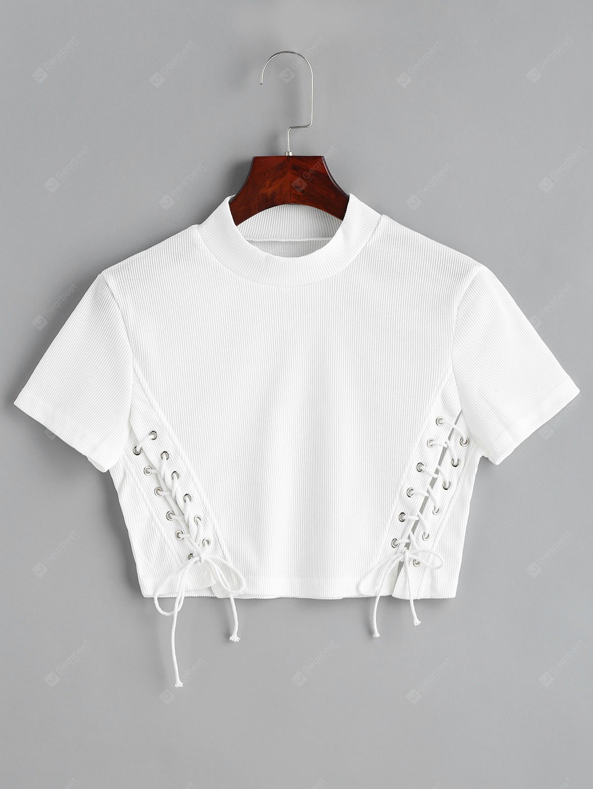 WHITE L Lace Up Cropped Knitted Top