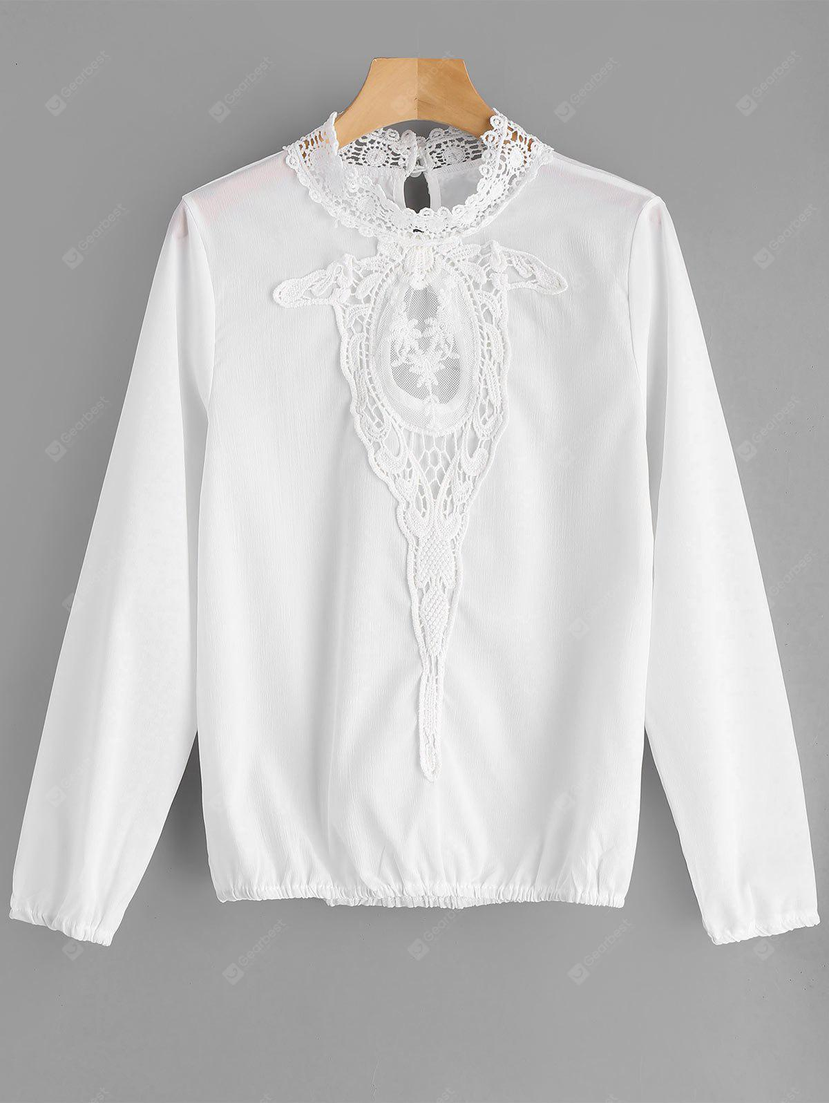 Lace and Mesh Insert Blouse