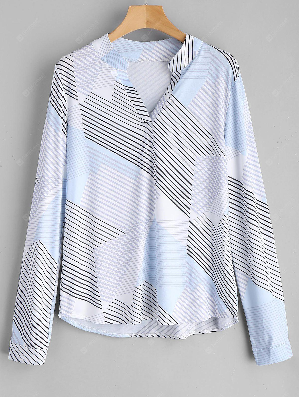 Contrast V Neck Striped Blouse