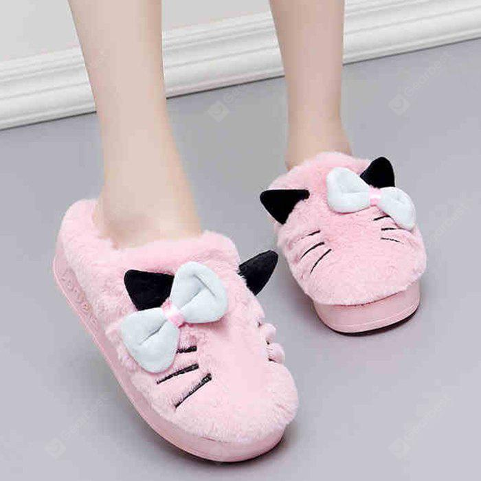 Cute Bow Accent Faux Fur Indoor Slippers