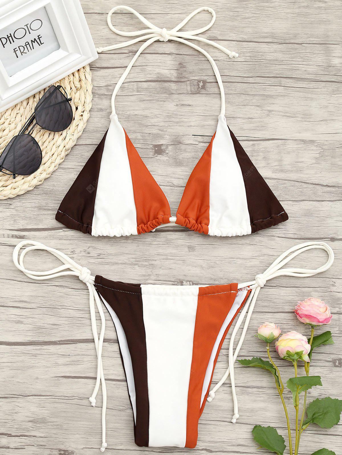 Color Block String Low Waisted Bikini Set
