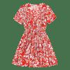 Floral Half Buttoned Short Sleeve Mini Dress - VERMELHO