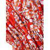 Floral Half Buttoned Short Sleeve Mini Dress - RED