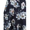Cold Shoulder Floral Print Vintage Dress - PURPLISH BLUE