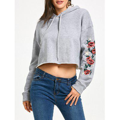 Flocking Star Flower Embroidered Cropped Hoodie