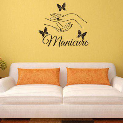 Manicure Both Hands Butterflies Patterned Wall Art Sticker