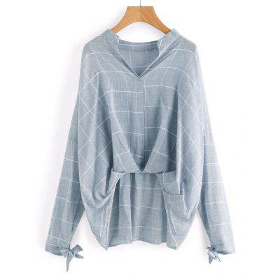 Buy LIGHT BLUE L Gathered Checked High Low Blouse for $21.10 in GearBest store