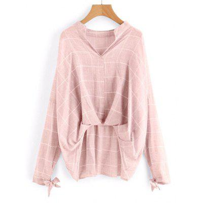 Buy LIGHT PINK M Gathered Checked High Low Blouse for $21.10 in GearBest store