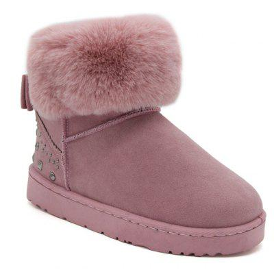 Bowknot Rivets Low Heel Snow Boots