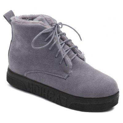 Lace Up Mid Heel Short Boots