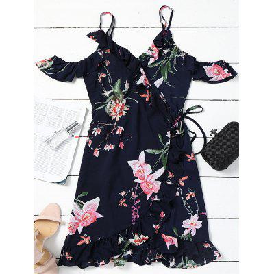 Cold Shoulder Wrap Floral Mini Dress