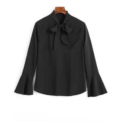 Buy BLACK M Slit Bell Sleeve Bow Tie Blouse for $18.17 in GearBest store
