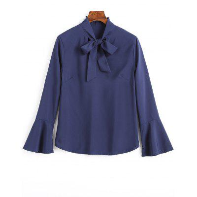 Buy CERULEAN M Slit Bell Sleeve Bow Tie Blouse for $18.17 in GearBest store