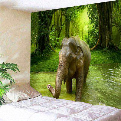 3D Forest Elephant Print Wall Hanging Tapestry
