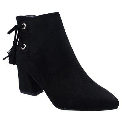 Back Tassels Faux Suede Ankle Boots