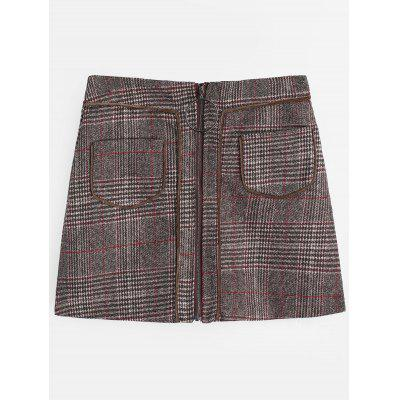 Zip Up Front Checked Skirt with Pockets