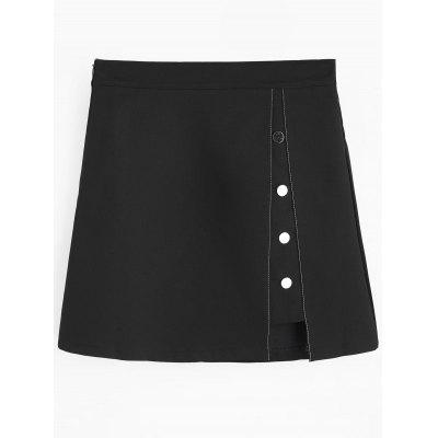 Cut Out Button Embellished Mini Skirt
