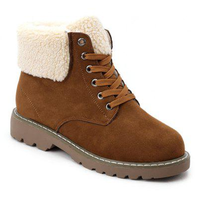 Faux Shearling Collar Ankle Boots